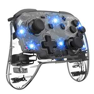 Wireless Switch Controller for Switch, Remote Pro Controller for Switch, Adjustable Turbo Vibration Motion Gyro Ergonomic, Transparent