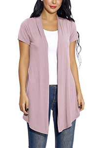 Women's Open Front Drape Cardigan Short Sleeves Solid Lightweight Cardigan (M, Lavender)
