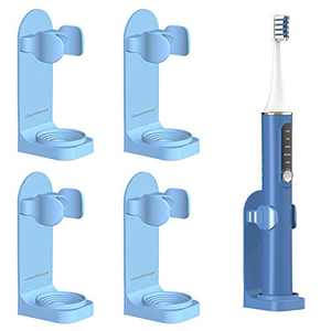 simpletome Adhesive Electric Toothbrush Holder Wall Mounted Adjustable Toothpaste Organizer 4 Pack (Blue)