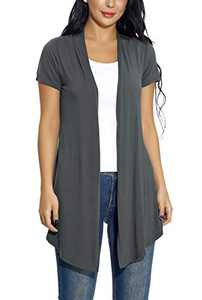 Women's Open Front Drape Cardigan Short Sleeves Solid Lightweight Cardigan (L, Deep Grey)