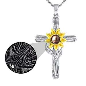 SNZM Mother's Day Jewelry Necklace for Women I Love You Necklace 100 Languages Sunflower Gifts Birthday Gifts Christmas Gifts for Her Wife Mom Girlfriend