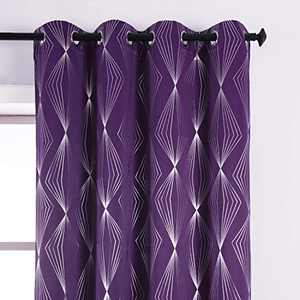 REEPOW Silver Purple Blackout Curtains 2 Panels for Living Room, Light Blocking Diamond Print Curtains Drapes with Solid Grommet - 52×95 inch