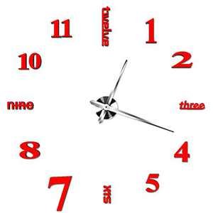 INSHERE 3D Wall Clock, Large Wall Clocks for Living Room Decor, Silent, Modern Wall Clock for Kitchen, Office, School, Home, Bedroom, Living Room Decor (Red)