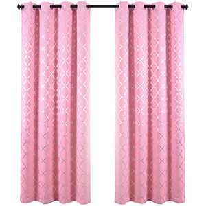 "REEPOW Pink Room Darkening Curtains for Girls Room 63 Inch Length, Silver Moroccan Pattern Grommet Blackout Window Drapes 52"" W × 2 Panels"