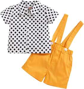 puseky Baby Brother and Sister Matching Outfits Set Polka Dot Shirt Suspender Shorts Clothes Suit