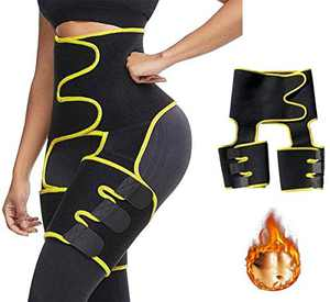 DINGHONG 3-in-1 High Waist Trainer Thigh Trimmer Workout Fitness Training Weight Loss Butt Lifter Thigh Slimmer Support Belt Hip Enhancer Shapewear Body Shaper for Women Men