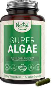Nested Naturals Super Algae - Certified Organic Spirulina and Chlorella Capsules - Chlorella Spirulina Powder That Supports Immune System, Gut Health, Boosts Energy - Vegan Non-GMO Blue Green Algae