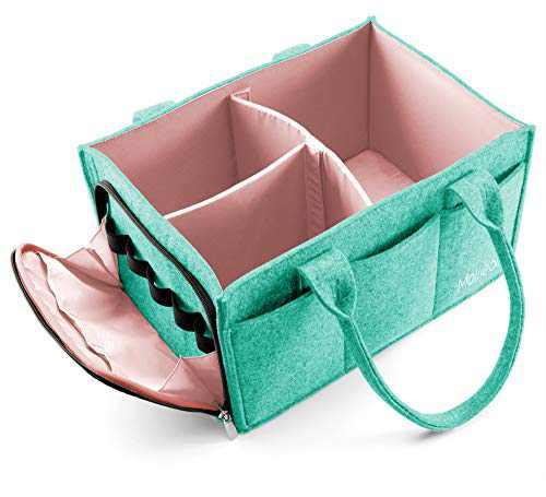 Mollieollie Premium Baby Diaper Caddy Organizer | Portable Nursery Storage Bin | Planner Caddy | Portable Craft Storage Organizer | Car Seat Tote with Zipper Pocket & 5mm Heavy Duty Felt (Teal/Rose)