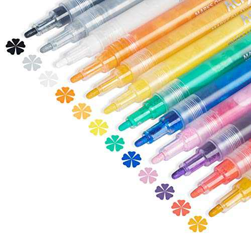 Acrylic Paint Pens, JOBONUS 12 Colors Acrylic Paint Markers for Canvas Rock Easter Eggs Glass Wood Ceramic Mugs DIY Crafts Supplies Painting, Fine Tip Paint Marker Pen Set