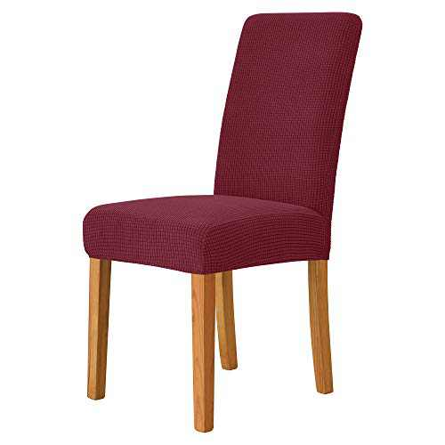 MILARAN Dining Chair Cover, Soft Stretch Jacquard Chair Seat Slipcover for Dining Room, Kitchen, Washable Removable Parson Chair Protector for Home Décor, Banquet, Ceremony—Set of 2, Burgundy