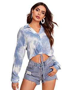 Romwe Women's Tie Dye Long Sleeve Button Down Drawstring Hem Crop Blouse Tops Shirts Dusty Blue X-Small