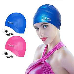 FAHZON Unisex Swim Cap Cover Ears,Skin-Friendly Waterproof Silicone Swimming Caps for Women Men Adults Kids,Fit Both Long Hair Short Hair,Pink and Blue[2-Pack]