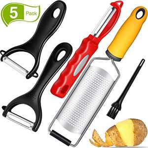 5 Pieces Zester Grater Peeler Set Swivel Vegetable Peeler Practical Y Shaped Vegetable Peeler and Cleaning Brush for Home Kitchen Vegetable Peeling Supplies