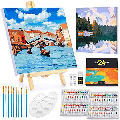 Magicfly Paint by Numbers with Frame and Free Table Easel, 2 Pack   11'' x 14''   Paint by Numbers Kit with Stretched Canvas, 48 Acrylic Paint Tubes, 10 Paint Brushes and Palette, for Adults& Beginner