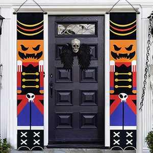 New 2 PCS Halloween Porch Banner 14''x74'' Front Door Signs Decor Pumpkin Skeleton Soldier Trick Treat Halloween Hanging Banner Wall Outdoor Indoor (Brown)