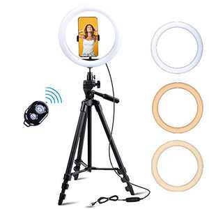 "Fugetek 10.7"" Selfie Ring Light Tripod Kit, Wireless Bluetooth Remote, for Video, Live Stream, TikTok, Photos, Makeup, 3 Color Modes, Compatible with iPhone & Android, Aluminum 54"" Stand, USB Powered"