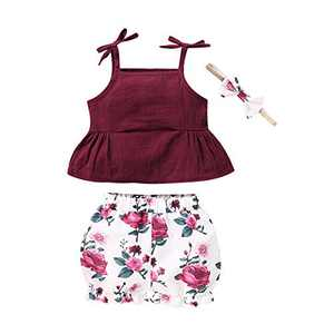 ZOEREA 3Pcs Toddler Girls Clothes Outfits, Cute Infant Baby Girl Summer Bow Ruffle Top + ShortPant Set with Headband