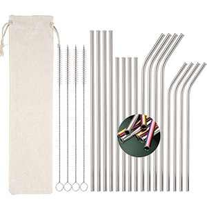 "16pcs Stainless Steel Straws for 20 30oz Tumblers, Rounded Edges Reusable Metal Straws with 4 Cleaning Brush and 1 Travel Bag, 8.5"" 10.5"" Straight Bent Straws for Beverage(Silver)"