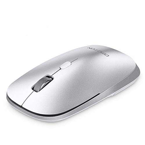 OMOTON Bluetooth Mouse for iPad and iPhone, Dual-Mode (BT 3.0 + BT 5.0) Ultra-Slim Bluetooth Mouse with 3 Adjustable DPI Compatible with iPad, Laptop, PC, Notebook, Mac Series and More (Silver)