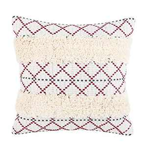 cygnus Boho Decorative Tufted Throw Pillow Covers Cotton Woven Geometry Textured Modern Farmhouse Accent Cushion Cover for Couch Sofa 18x18 inch,Wine Red Diamond