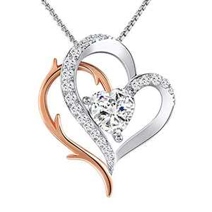 Angelady Love Heart Pendant Necklace 5A Cubic Zirconia for Women Girlfriend Wife,14K White Gold Plated Silver Double Heart Necklaces Gift