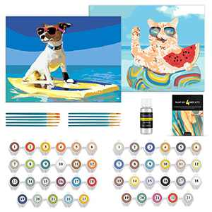 Magicfly Paint by Number for Adults Kids, 2 Pack Acrylic Painting by Number Kit for Beginner, DIY Color Paint by Number on Canvas Board, Dog and Cat, 9 x 12 Inch