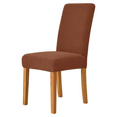 MILARAN Dining Chair Cover, Soft Stretch Jacquard Chair Seat Slipcover for Dining Room, Kitchen, Washable Removable Parson Chair Protector for Home Décor, Banquet, Ceremony—Set of 4, Russet Brown