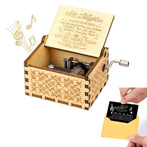 OyeahO Music Box Hand Crank Engraved Musical Box- U R My Sunshine Mechanism Antique Vintage Personalizable Gift for Daughter from Dad Farther + Gift Card