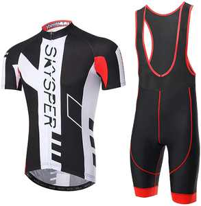 SKYSPER Cycling Jersey Men Short Sleeve Cycling Clothing Set with 3D Gel Padded Bib Shorts Pants Breathable Cycling Combo Clothing Set for Race Bike Bicycle Team