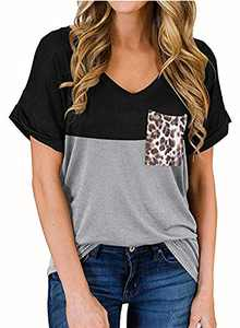 RULINJU Women's Short Sleeve T Shirts V-Neck Tunic Tops Loose Casual Tees Front Leopard Pocket (Large, Black)