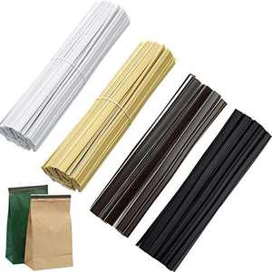 200 Pieces Peel and Stick Tin Ties 5.5 Inch Coffee Bag Ties for Bag Sealing Strips and Food Storage (Black, White, Coffee, Gold)
