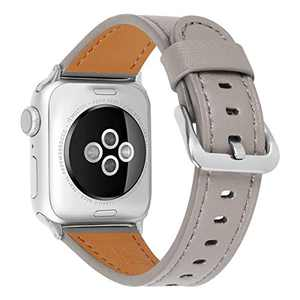 JIKE Compatible with Apple Watch Band 38mm 40mm, 42mm44mm Genuine Leather Watch Strap Compatible with Apple Watch Series 6/5/ 4/ 3 /2/ 1,SE Sport and Edition (light brown/Silver , 38mm40mm)