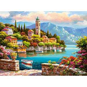HJAA DIY Painting by Numbers for Adults Kids Seasise Paint by Numbers DIY Oil Painting Acrylic Paint by Numbers Painting Kit Home Wall Living Room Bedroom Decorations,Town Beside The Sea(16x20inch)
