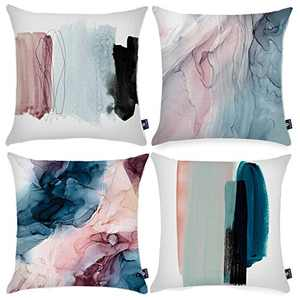 Symiiaus Throw Pillow Covers Decorative Pillows for Couch Pillows 18 x 18 Inch Modern Marble Colorful Abstract Throw Pillow Cases for Bedroom Sofa Living Room Home Decor Set of 4