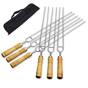 LQLMCOS Campfire Roasting/BBQ/Barbecue Sticks Set - 6pcs Stainless Steel Barbecue Forks with Wooden Handle for Camping Bonfire