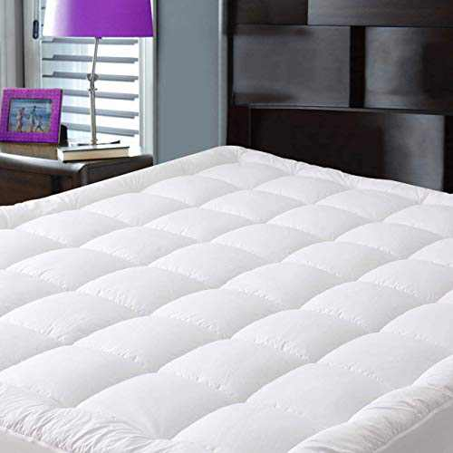 JURLYNE Pillowtop King Mattress Pad Cover, Breathable Quilted Fitted with 8-21 Inches Deep Pocket, Snow Down Alternative Filled Cooling Mattress Topper