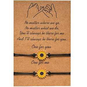 Friendship Bracelet Best Friend Bracelet for 2, Sunflower Pinky Promise Bracelets Adjustable for Couple Family Women Mens Teen Girls Friendship gifts 2PC (Sunflower(Yellow))