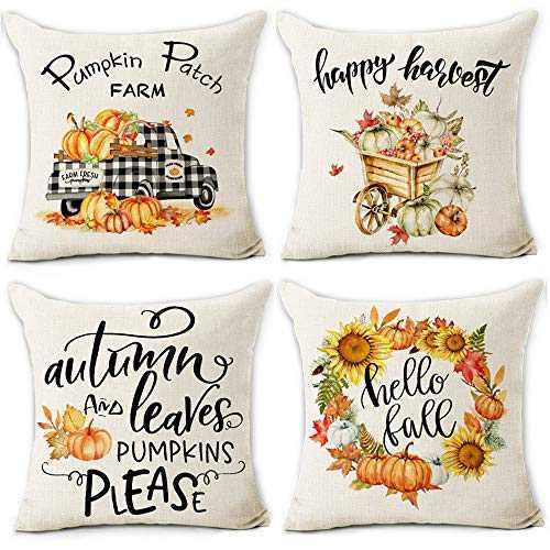 pinata Fall Pillow Covers 18x18, Cotton Linen Pumpkin Throw Pillows for Auntumn Thanksgiving, Fall Decorations for Home Farmhouse Decorative Sofa Pillowcase Sets of 4