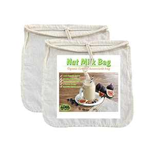 "Organic Cotton Nut Milk Bags - 12"" x 12"" U bottom cheesecloth bags for nuts milk, Cold brew coffee, all kinds of juice, teas .etc 2 PACK"