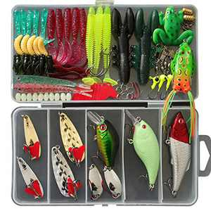 Wrap-A-Loc 94 Pcs Fishing Lures Equipment Kit Set Includes Accessories Bait, Plastic Worms, Hooks, Sinker, Weights, Soft Fishing with Tackle Box
