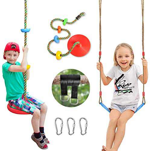SUNCITY Swing Set 2 Pack Swings Seats Tree Climbing Rope Swing Multicolor with Platforms, Outdoor Toys for Kids Ages 3+, Outside Playground Backyard Swingset Accessories with 5Ft Strap and Snap Hook