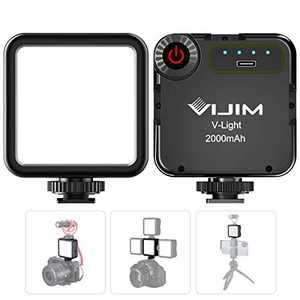 VIJIM VL49 LED Camera Light with 3 Cold Shoe,Portable Mini Rechargeable 2000mAh LED Video Light,CRI95+ Dimmable 5500K Professional Photography Lamp for Shooting YouTube Vlog Filming
