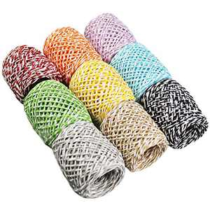 LJY 9 Rolls Multi-Colored Raffia Paper Twine String Ribbon for Gift Wrapping Box Packing, Artworks, DIY Crafts, Party Favor and Embellishments