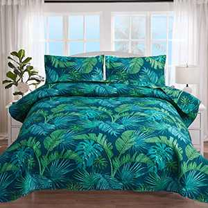 3Pcs Tropical Thick Green Palm Leaf Monstera Leaf Quilt Set Coverlet Full/Queen,Beach Themed Jungle Plants Quilted Bedspread Beddings Lightweight Great for Bedroom Home Decor (Blue Green,Full/Queen)