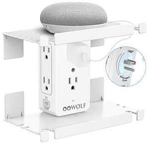 Scoket Outlet shelf, 180 Degree Rotatable Adapter Plug, Surge Protector Wall Outlet Extender with 6 Outlets and 2 USB ports, 2 Removable & Interchangeable Socket Shelf, White, ETL Certified