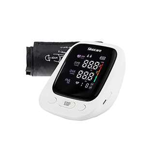 Sinocare Blood Pressure Monitor, Upper Arm Blood Pressure Machine Home Use Accurate Bp Machine with Adjustable Large Cuff 22-42cm, Heart Rate Pulse Monitor with Voice Function, Large LED Display
