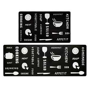 """SHACOS Anti Fatigue Kitchen Rug Mats Set of 2 Pieces 1/2"""" Thick Standing Mat Cushioned Kitchen Floor Mat Non Slip Waterproof Stain Resistant Wipe Clean 17""""x47""""+17""""x30"""" (Black Cook)"""
