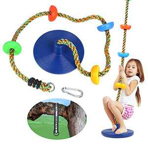 Swing Climbing Rope Tree Swing Set Accessories for Kids Outdoor Playset with Platform and Disc Swing Seat Playground Sets for Backyards Slide Playsets Rainbow Kids Swings