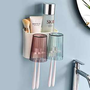 ecoco Toothbrush Holder Family Toothbrush Wall Holder 2 Cups for Kids Toothbrush Cover Wall Mounted Toothbrush Holders