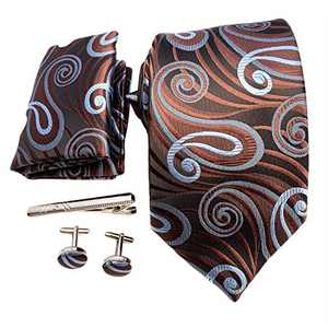 Mens Necktie Set with Coffee Brown Blue Cloud Pattern Woven Silk Tie Pocket Square Cuff-Links Tie Clip in Gift Box